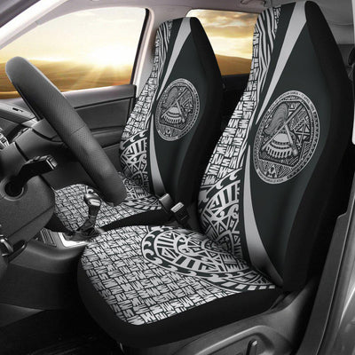 America Samoa Polynesian Tribal Circle Style White Color Car Seat Covers