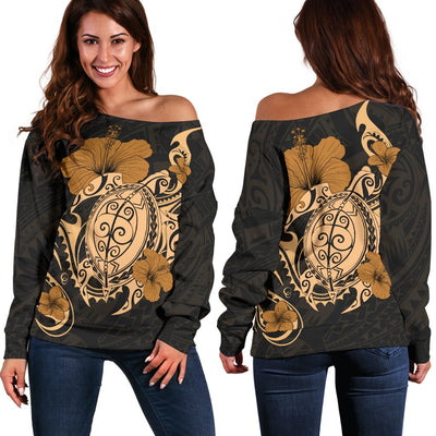 Hawaii Turtle and Hibicus Flower Polynesian Off Shoulder Sweater - luxamz