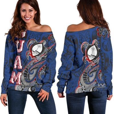 Guam Turtle Waving Blue Color Shoulder Sweaters