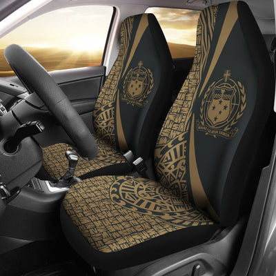 Samoa Polynesian Circle Style Gold Color Car Seat Covers - luxamz