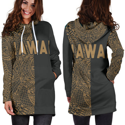 Polynesian Madame Pele Mauna Kea Hawaii The Half Gold Hoodie Dress - luxamz