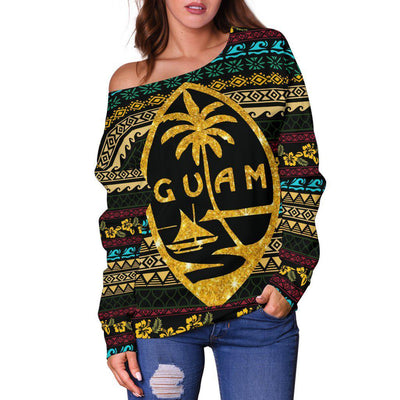 Guam Polynesian Color Pattern Women's Off Shoulder Sweater