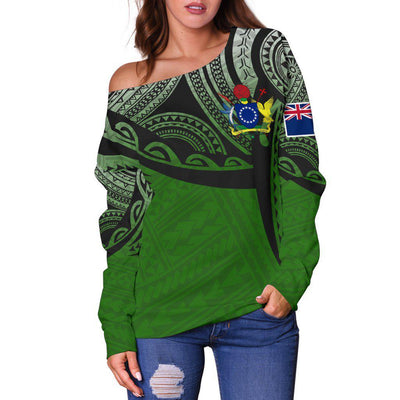 Cook Islands Polynesian Tattoo Pattern Shoulder Sweater