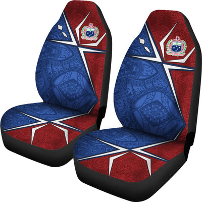 Samoa Flag with Polynesian Patterns Car Seat Covers - luxamz