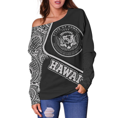 Hawaii Polynesian Seal of Hawaii Off Shoulder Sweater