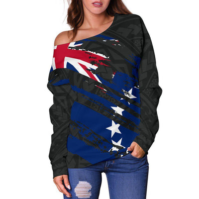 COOK ISLANDS FLAG COAT OF ARMS POLYNESIAN Shoulder Sweater