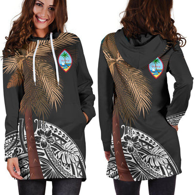 Guam Polynesian Palm Tree Black Hoodie Dress