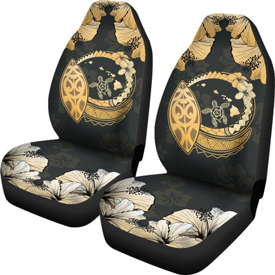 Hawaiian Map Hibiscus Plumeria Turtle Polynesian Car Seat Covers - luxamz