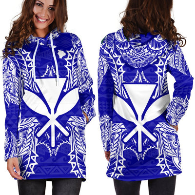Polynesian Hawaii Blue Hoodie Dress