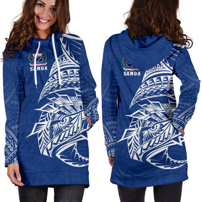 Samoa Rugby - Samoa Coat Of Arms Polynesian Tattoo Style Hoodie Dress - luxamz