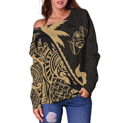 Guam Coconut palm Gold tropical polynesians shoulder sweater