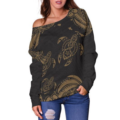 Hawaii All Over Polynesian Gold Sea Turtle Tattoo Shoulder Sweater - luxamz