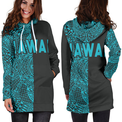 Polynesian Madame Pele Mauna Kea Hawaii The Half Blue Hoodie Dress