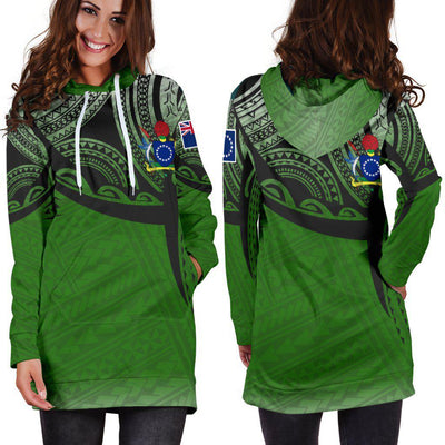 Cook Islands Polynesian Tattoo Pattern Hoodie Dress - luxamz