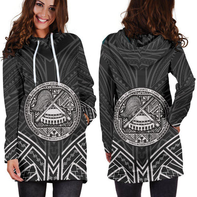 American Samoa Polynesian Pattern Black Color Hoodie Dress
