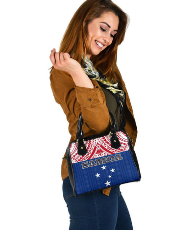 Samoa Polynesian Blue and Red Pattern Shoulder Handbags - luxamz