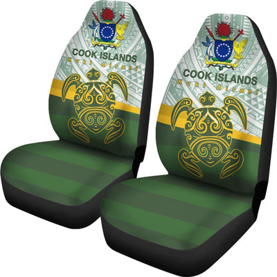 Cook Islands Flag Turtle Tattoo Car Seat Covers