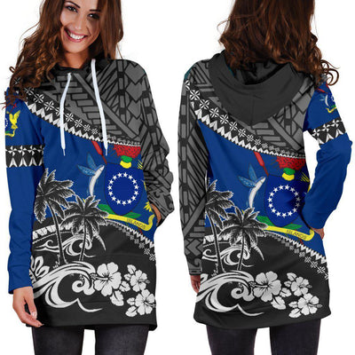 Cook Islands Fall In the Waves Hoodie Dress - luxamz