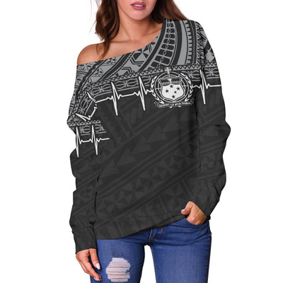 Samoa Polynesian Black White Heartbeat Style Shoulder Sweater