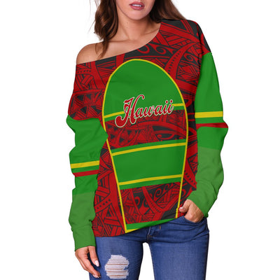 polynesian Hawaii Kanaka Maoli Flag  All Over shoulder sweater