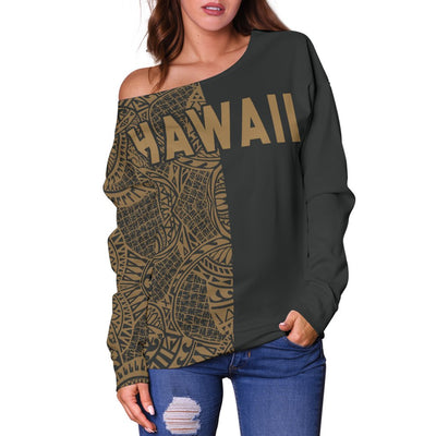 Polynesian Madame Pele Mauna Kea Hawaii The Half Gold Off Shoulder Sweater - luxamz