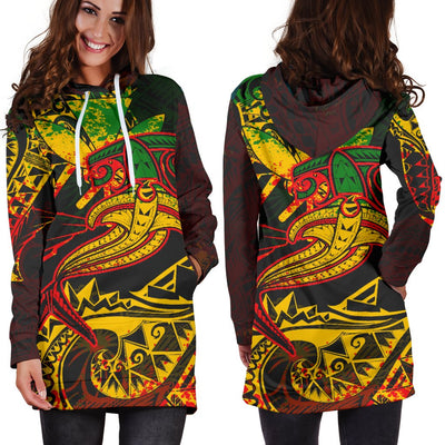 Hawaii Red Shark Polynesian Tattoo Color Hoodie Dress - luxamz