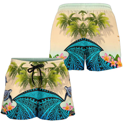 Kanaka Maoli Hawaiian - Polynesian Turtle Coconut tree And Plumeria Women's Short - luxamz