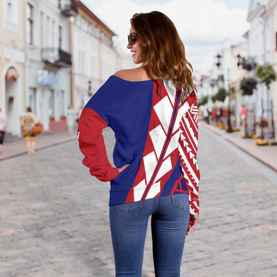 American Samoa Flag Edition Pullover Shoulder Sweater