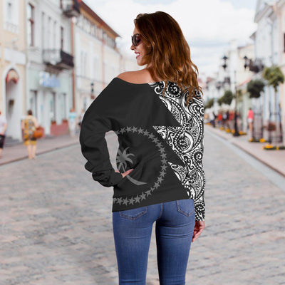Chuuk Flag Polynesian Tattoo Black Style Shoulder Sweater - luxamz