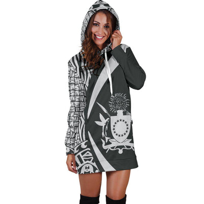Cook Islands Polynesian Tribal Circle Style White Color Hoodie Dress