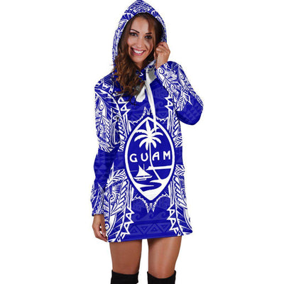 Polynesian Guam Blue Hoodie Dress