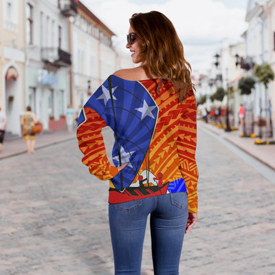 Samoa Polynesian Samoa Independence Day Shoulder Sweater - luxamz