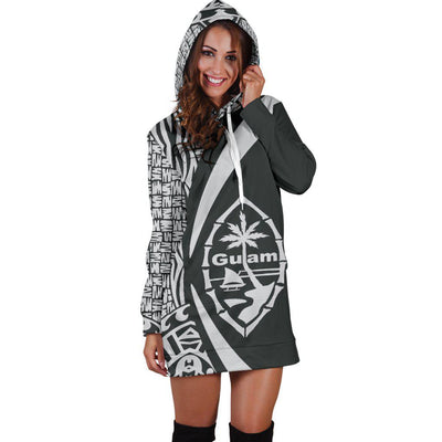 GUAM Polynesian Tribal Circle Style White Color Hoodie Dress