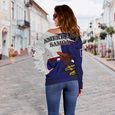 American Samoa Eagle Blue Women's Off Shoulder Sweater