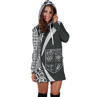 FIJI Polynesian Tribal Circle Style White Color Hoodie Dress