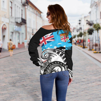 Fiji Custom Personalised Dynamic Sport Style Shoulder Sweater - luxamz