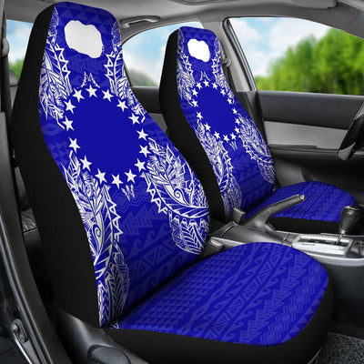 Polynesian Cook Islands Blue Car Seat Covers - luxamz