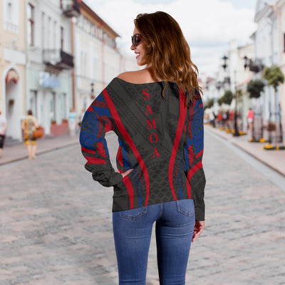 Samoa Coat Of Arms Polynesian Stylized Off Shoulder Sweater - luxamz