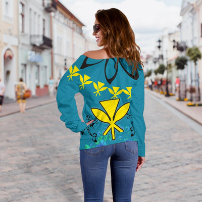 Hawaii Polynesian Pattern With Flag Shoulder Sweater