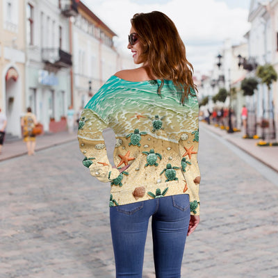 Sea Turtle 3D All Over Printed Shirt Shoulder Sweater - luxamz