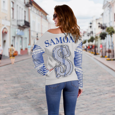 Manu Samoa All Over Hoodie Off Shoulder Sweater