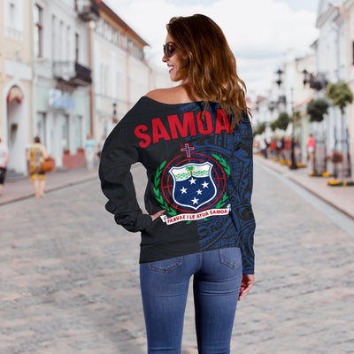 Samoa Polynesian Tattoo Style Blue Shoulder Sweater