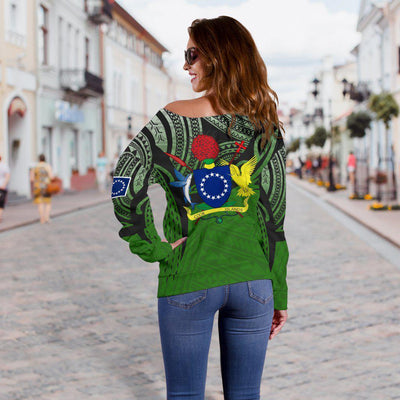 Cook Islands Polynesian Tattoo Pattern Shoulder Sweater - luxamz