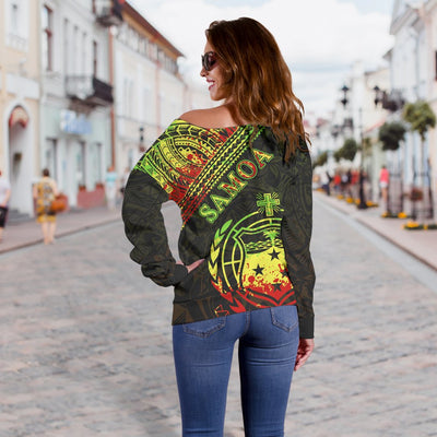 Samoa Custom Polynesian Patterns With Coat of Arms Reggae Color Shoulder Sweater - luxamz
