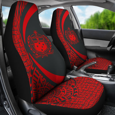 Samoa Polynesian Circle Style Red Color Car Seat Covers
