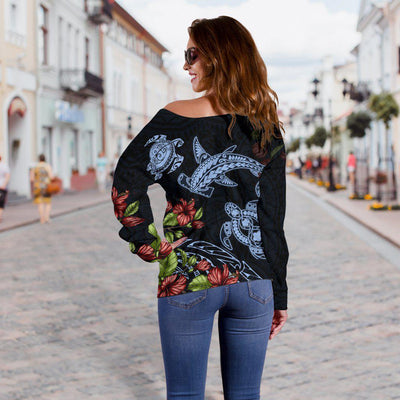 American Samoa Polynesian Sea Turtle And hammerhead shark shoulder sweater - luxamz