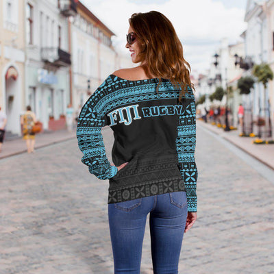 Fiji Rugby Fijian Tapa Pattern Shoulder Sweater