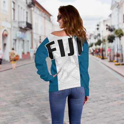Fiji Polynesian Flag And Coat Of Arm Shoulder Sweater
