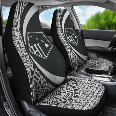 Hawaii Polynesian Tribal Circle Style White Color Car Seat Covers