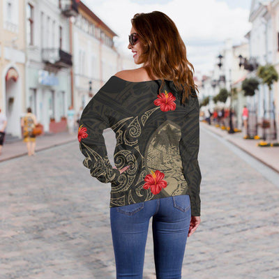 Guam Hoodie Hibiscus Tattoo Style shoulder sweater
